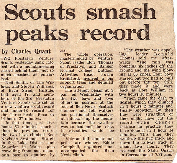 Press cutting from 1977 detailing the Venture Scouts Three Peaks Challenge record.